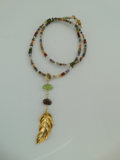 Baby Gemstone Necklace with heavy Vermeil leaf.